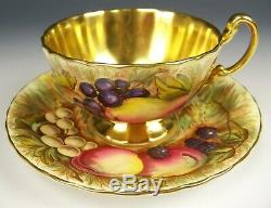 Aynsley Orchard Fruits Gold Gilt Tea Cup & Saucer Teacup Signed D. Jones