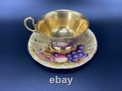 Aynsley Orchard Gold Signed Tea Cup Saucer Set Bone China England