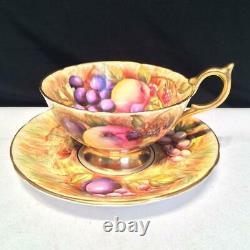 Aynsley Orchard Gold Tea Cup & Saucer Set Signed N. Brunt D. Jones E3940