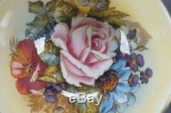 Aynsley Signed Bailey Pink Rose Floral Orange & Gold Bone China Tea Cup & Saucer