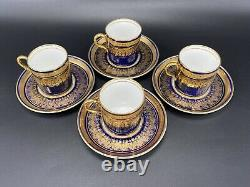 Aynsley Simcoe Coffee Espresso Demitasse Cup Saucer Set X 4 Bone China England
