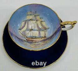 Aynsley Tall Ship Teacup Cup & Saucer Cobalt Blue Great Shape Gold 1034