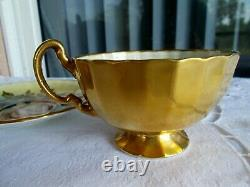 Aynsley Tea Cup & Saucer Both Signed J A Bailey England Cabbage Roses Gold Cup