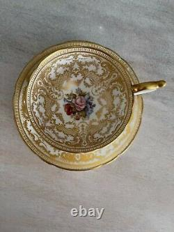 Aynsley Tea Cup Saucer Cabbage Rose Heavy Gold Signed Bailey Spectacular