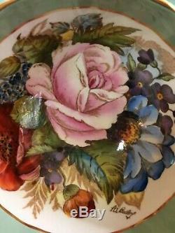 Aynsley sage green gold, signed JA Bailey rose tea cup&saucer set
