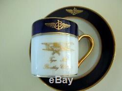BREITLING Cup Saucer LIMOGES Demitasse Tiger Moth Biplane Cobalt Gilded Gift