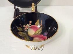 Beautiful Aynsley Black Fruit Orchard Tea Cup & Saucer 1174 Gold Trim