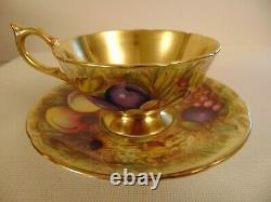 Beautiful Aynsley Gold Fruit Orchard Footed Tea Cup Saucer Signed D Jones 1930s