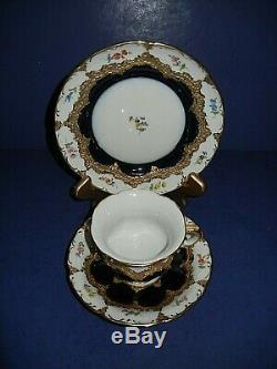 Beautiful Meissen B Form Opulant Gold, Cobalt & Floral Tea Cup & Saucer Trio