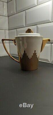 Biba Starburst Porcelain Coffee/tea Set With Gold Gilding X4 - Art Deco