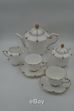 Bone China 15 Piece Gold Rim Coffee Tea Set Teapot Sugar Cream Pot / Cups