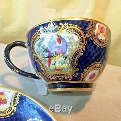 CHELSEA PORCELAIN BIRD & BUGS TEA CUP & SAUCER GILDED HAND PAINTED ANTIQUE c1760