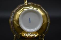 C. 1820 KPM Berlin German Grape Clusters & Gold Inlay Paneled Cup & Saucer Peach
