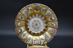 C. 1820 KPM Berlin German Multi Scene Paneled Cup & Saucer Set Gold Grape Castle