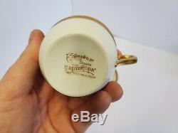 C. Ahrenfeldt Limoges Fancy Gold Encrusted floral pattern Demitasse cup saucer