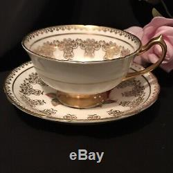 Cabbage Red Rose Paragon Tea Cup&Saucer Warrant Queen Lots Gold CrackDisplayOnly