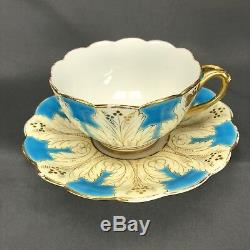 Cauldon Brown Westhead Moore Cup & Saucer Blue & Gold Scrolls K3183