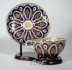 Cauldon Cup & Saucer Cobalt Blue Design with Gold Highlights. Made for Tiffany &