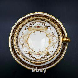 Cauldon D-Handle Flared Cup Saucer Cobalt Rim Floral Heavy Gold England Antique