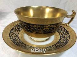 Cauldon England Gold Encrusted COBALT CUP & SAUCER SET- Ovington Bros. NY v3334