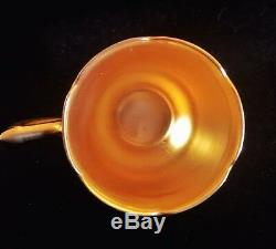Charming royal doulton fluted canary yellow & gold wreaths demitasse cup saucer