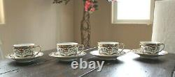 Christian Dior RENAISSANCE 4 CUPS with SAUCERS Blue & Gold Floral Scroll Design