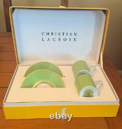 Christian LaCroix FOLLEMENT Green & Gold Cafe set 2 cups/ saucers PARIS France