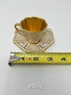 Coalport England 19th Century White & Gold Gilt Demitasse Cup & Saucers x 4
