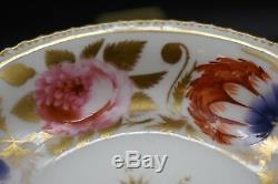 Coalport English 1820's Hand Painted Flowers & Gold Tea Cup & Saucer Set (1577)