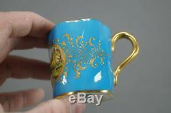 Coalport Hand Painted Birds Raised Beaded Gold & Blue Demitasse Cup & Saucer