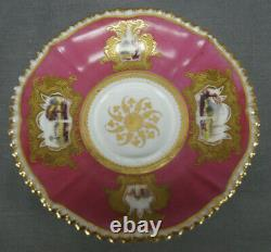 Coalport Hand Painted Cathedrals & Ruins Pink & Raised Gold Cup & Saucer C. 1827