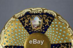 Coalport Jeweled Cobalt & Raised Gold Landscape Scenes Demitasse Cup & Saucer