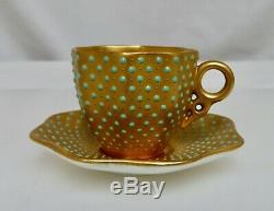 Coalport Jeweled Gold Demitasse Coffee Cup & Saucer 80813