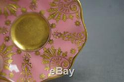 Coalport T253 Pompadour Pink & Raised Beaded Gold Demitasse Cup & Saucer