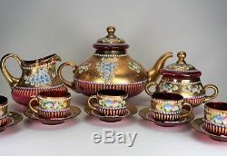 Czech Cranberry Glass Coffee Pot Creamer Sugar Bowl Cups Saucers Gold & Flowers