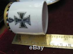 Demitasse Cup & Saucer 1914 IRON CROSS, Torses with BLACK RED GOLD & WHITE 5869 4
