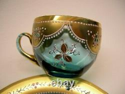 Demitasse cups and saucers Moser Art Glass from Russia, 1800's