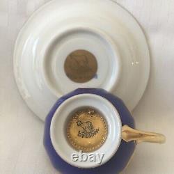 Dresden Ambrosius Lamm Demitasse Cup & Saucer Gold & Cobalt Blue Demi Fancy