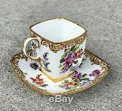 Dresden Bourdois & Bloch Germany Miniature Cup & Saucer Set w Gold & Flowers