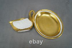 Dresden Carl Thieme Gold & White Antique Bisque Porcelain Swan Cup & Saucer