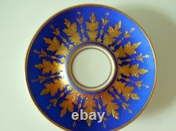 Dresden Cup Saucer Footed Hutschenreuther Royal Blue Gold Fancy Raised Acantus