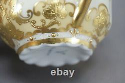 Dresden Hirsch Raised & Beaded Gold Grapevine Scrollwork Bouillon Cup & Saucer E