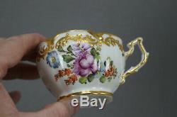 Dresden Style Eugene Clauss Paris Hand Painted Floral & Gold Tea Cup & Saucer B