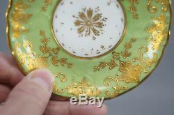 Dresden Wehsner Josephine & Potocka Portraits Green & Raised Gold Cup & Saucer