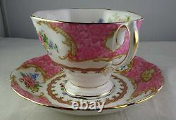 Eight Royal Albert Lady Carlyle Tea Cup & Saucer Sets Pink Floral Gold Trim