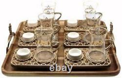 Elegant 19 Pc Modern Ottoman Style Turkish Tea Set (Antique Gold)