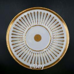European Tea Cup Saucer Gold White Embossed Stripe G-1225 Antique