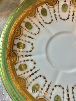 Excellent Minton Raised Gold Dot Tea Cup Saucer Duo Handle