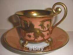 Exquisite Antique Rosenthal with lion claw feet cup & saucer gold hand painted