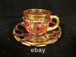 Exquisite Vintage Moser Ruby Cabochon & Gilt Teacup & Saucer